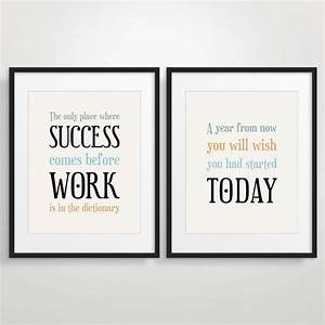 Office decor typography posters inspirational by for Office wall prints