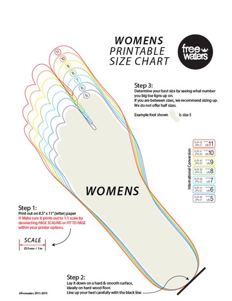 Printable Shoe Size Foot Chart
