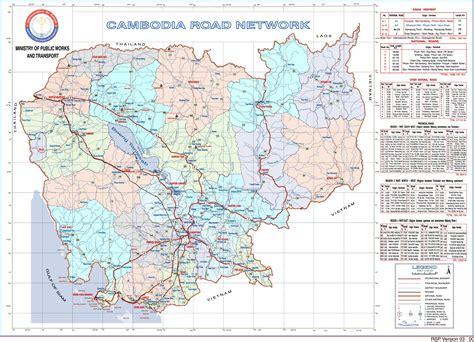 Cambodian National Road Map also Index to Provience Road ...