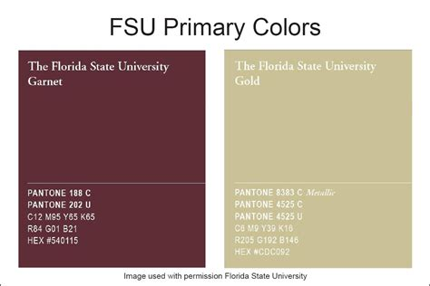state colors florida state garnet gold pantone standards for the