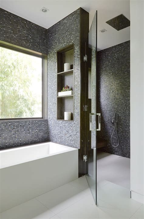 Modern Bathroom Mosaic Ideas by Gray Mosaic Tiles From Sacks To Create Warmth In