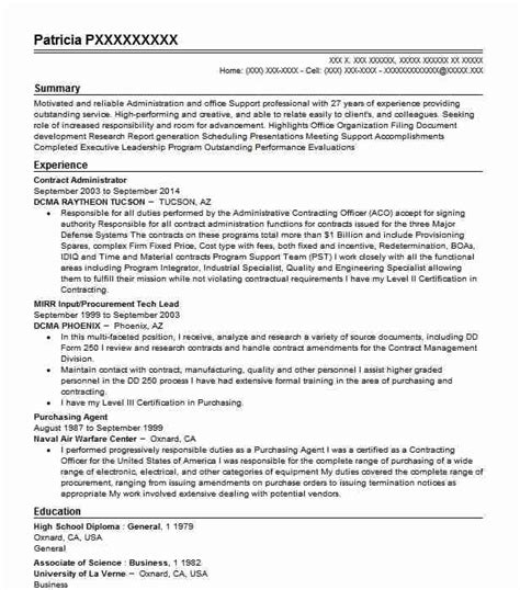 Contract Administrator Cv by Contract Administrator Resume Sle Livecareer