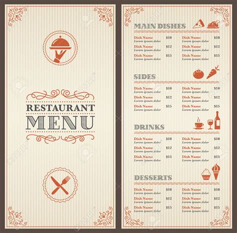 powerpoint templates cartas menu restaurant menu template