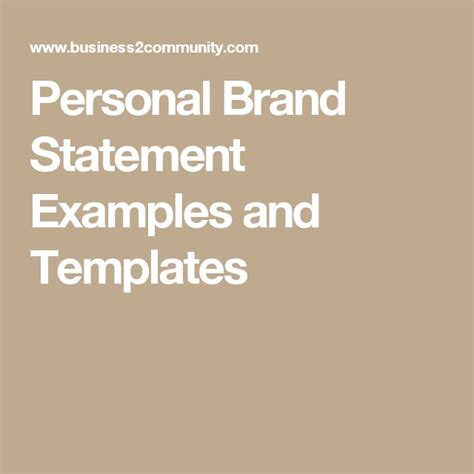 personal brand statement examples ideas
