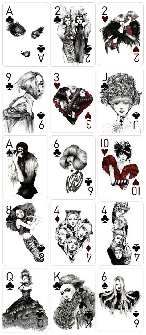 playing cards beautifully hand illustrated  fashion