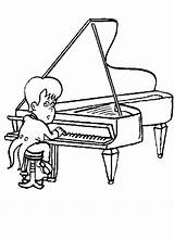 Piano Coloring Player Clipart Play Cliparts Sheet Library sketch template