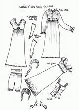 Paper Coloring Dolls Austen Jane 1800s Printable Clothing Pioneer Clothes Doll 1800 Fashions Medieval Early Historical Past Through Eras Titanic sketch template