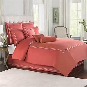 wamsutta 174 baratta stitch comforter set in coral bedbathandbeyond com