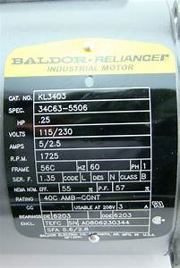Baldor Reliancer Industrial Motor  25hp 115  230v Single Phase 1725rpm 1ph Kl3403