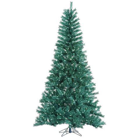 9 foot aqua tinsel christmas tree pre lit a147281