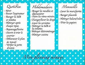 Planning menage organisation pinterest for Idees pour la maison 7 derniare semaine avant les vacances de no235l