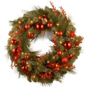 national tree co decorative pre lit 24 quot christmas mixed wreaths with 50 battery operated white