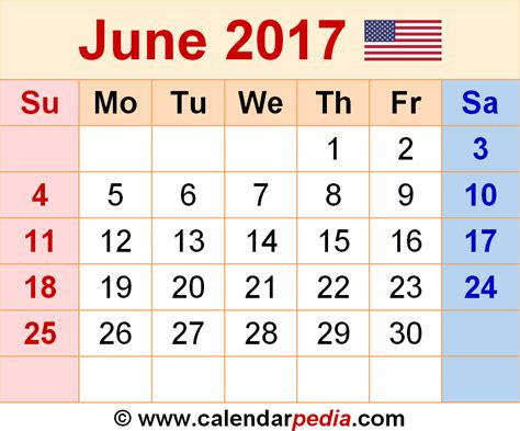 June 2017 Calendars For Word Excel And Pdf