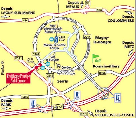 plan val d europe maps for hotel residhome prestige val d europe