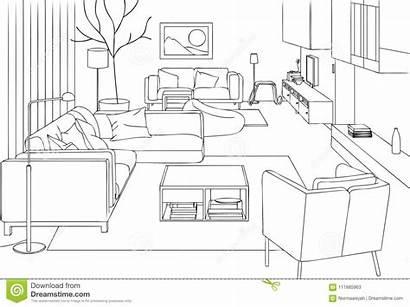 Living Line Vector Modern Interior Coloring Illustration