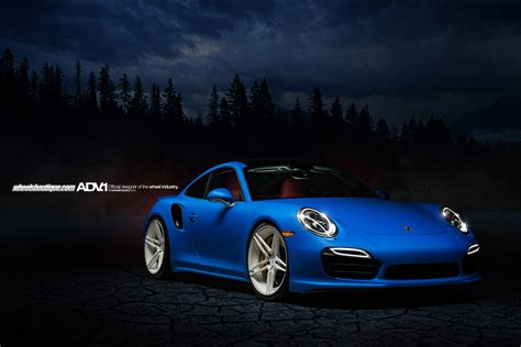 matte blue porsche porsche 991 turbo s adv05 m v2 cs gloss white