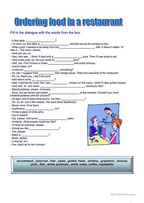 ordering food worksheet  esl printable worksheets