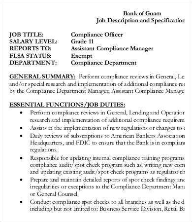 compliance officer job description