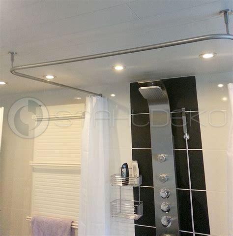 duschvorhang u form duschvorhangstange u form barrierefrei f 252 r badewannen oder dusche edelstahl oder wei 223