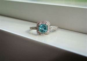 antique halo teal apatite diamond ring gemstone engagement With teal wedding rings
