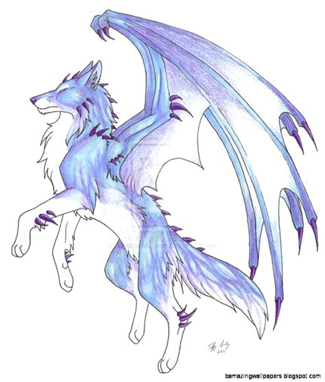 Wallpaper Anime Wolf - blue anime wolf with wings wallpapers gallery