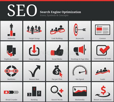 Search Engine Optimization Ranking - seo icons and symbols stock vector image of ranking