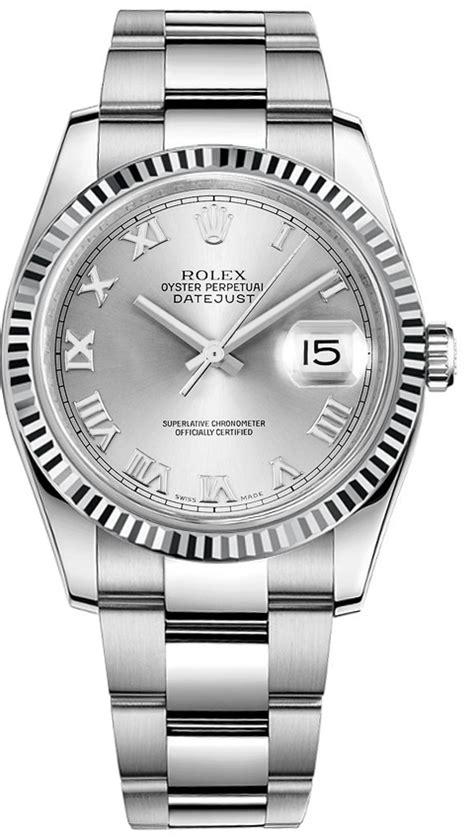 rolex datejust   silver roman dial