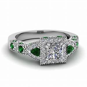Trillion halo princess cut diamond engagement ring with for Emerald green wedding ring