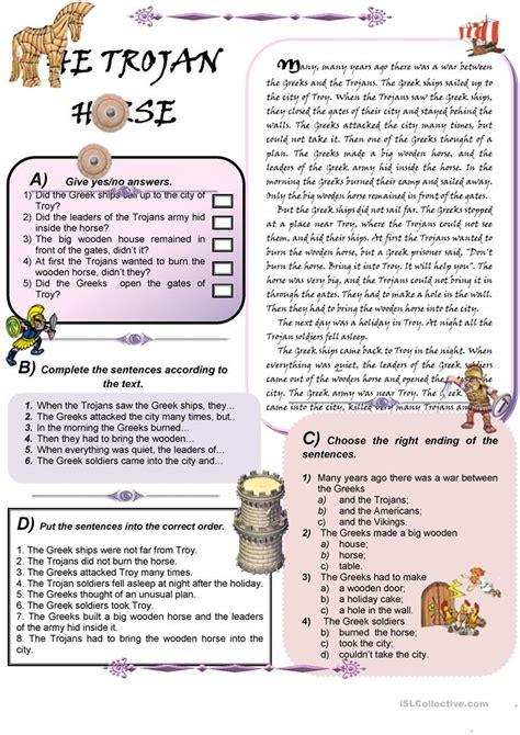 the trojan horse worksheet free esl printable worksheets