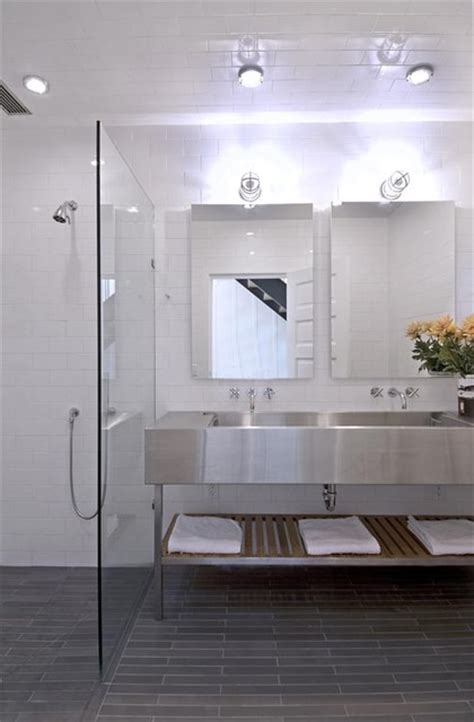 Stainless Steel Bathroom Sinks by Bathroom With Stainless Steel Sinks Contemporary