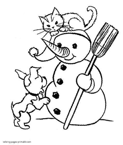 dog  cat play  snowman coloring pages printablecom
