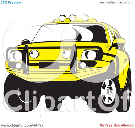 royalty  rf clipart illustration   yellow jeep