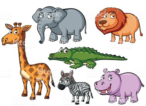 Different Kinds Of Animals With Unhappy Faces Stock Vector
