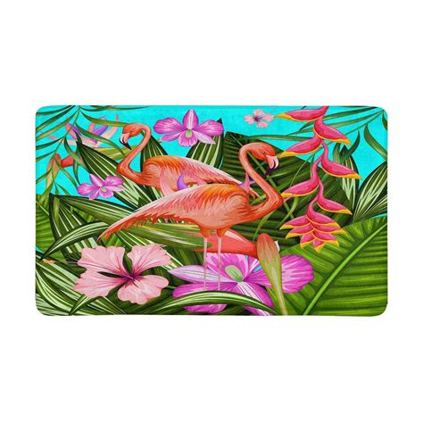 Tropical Doormat by Tropical Background With Flamingo And Flowers