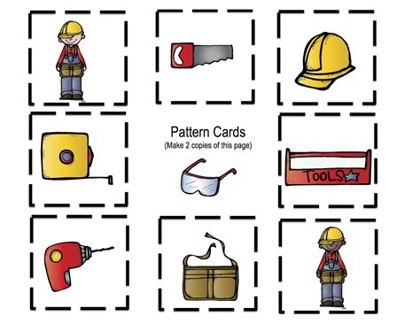 all about tools printable preschool printables 657 | Tools pattern cards