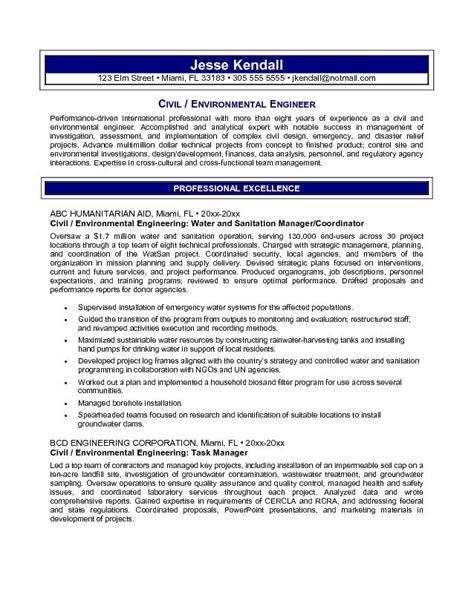 free civil environmental engineering resume exle