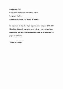 2000 Mitsubishi Galant Repair Manual Pdf