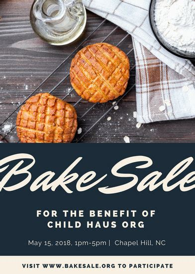 white black modern cookies bake sale flyer templates