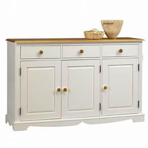 Buffet Blanc Pas Cher : buffet blanc et miel 3 portes 3 tiroirs beaux meubles pas chers ~ Teatrodelosmanantiales.com Idées de Décoration