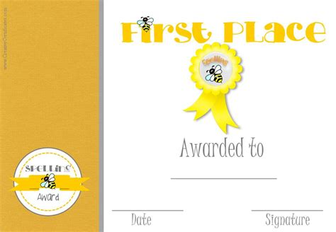 1st Place Certificate Template Free by Place Certificate Free Printables
