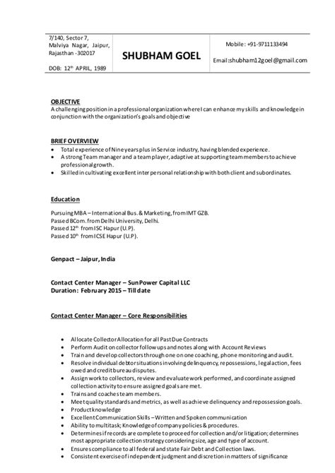 Upload Resume For In Jaipur by Shubham Goel Contact Center Manager Resume