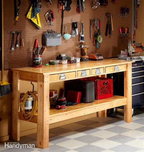 garage work bench simple workbench plans the family handyman