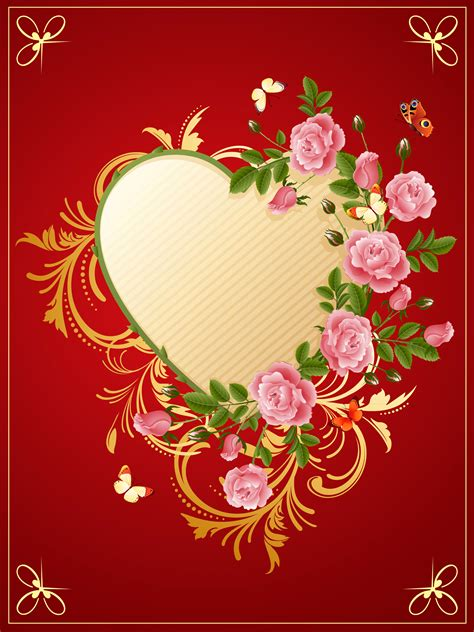 cute background  heart  roses gallery