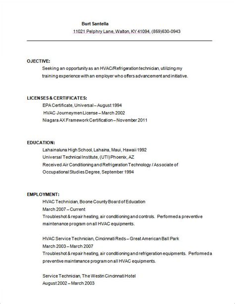 Utility Technician Resume by Hvac Resume Template 7 Free Sles Exles Format