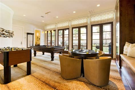 small rec room family room contemporary with pool table