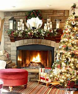 Stone, Fireplaces, Decorated, For, Christmas