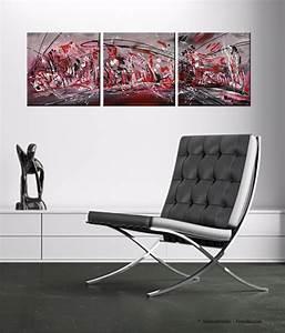 Tableau Moderne Noir Et Blanc : tableau triptyque abstrait rouge noir blanc moderne ~ Teatrodelosmanantiales.com Idées de Décoration
