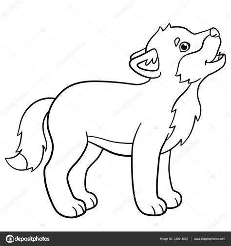 En De Wolf Kleurplaat by Kleurplaten Kleine Schattige Baby Wolf Howls