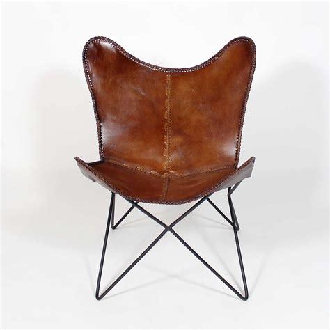 fauteuil papillon en cuir marron made in meubles