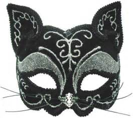 cat mask black silver cat mask on a headband or ribbons